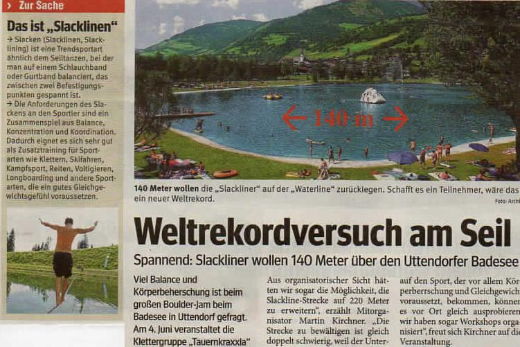 newspaper article about 140 m waterline world record in Austria