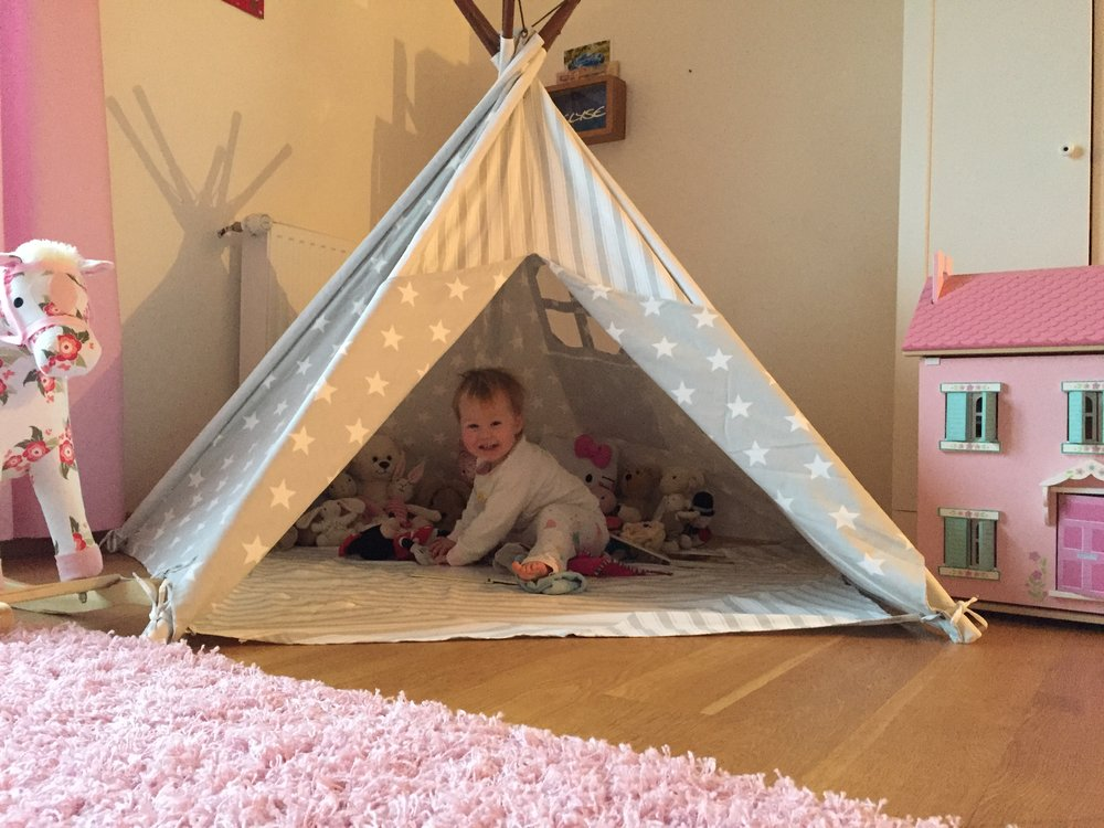 Just look at that smiling face! She LOVES her TeePee Tent :o)