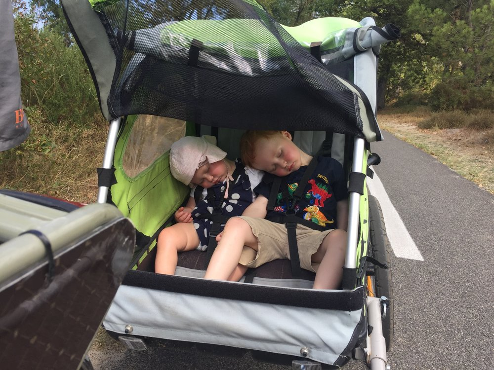 Bike trailer nap.