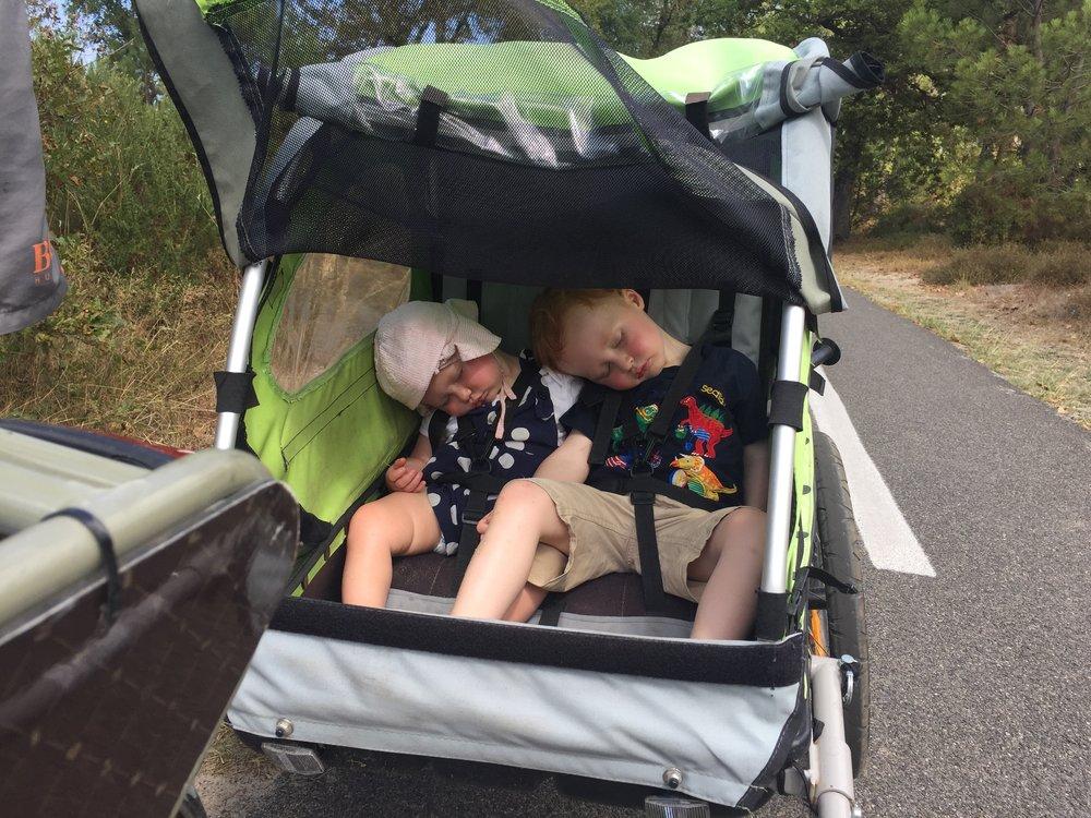 Bike trailer nap.