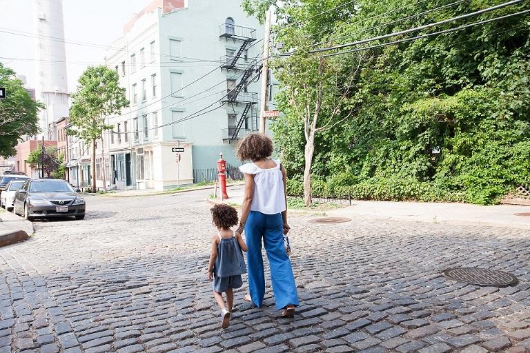 Mum and child walking