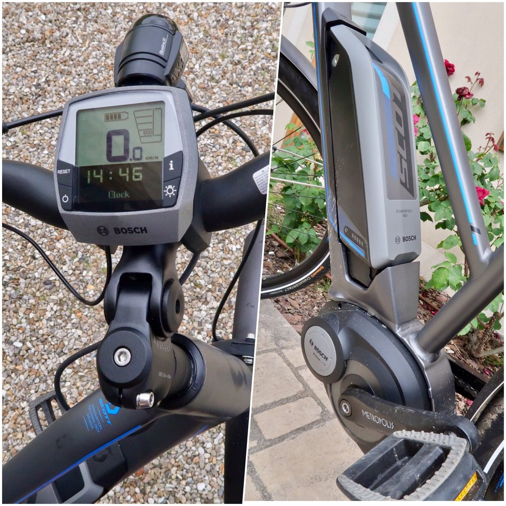 What does the battery look like? Here it is, and the operating panel on the handlebars.