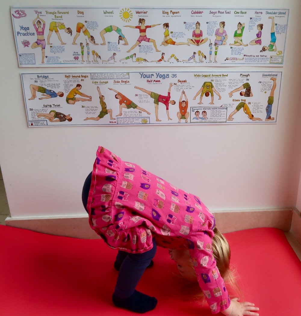 "Yoga Charts: ""downward dog"" in action, never too young to start!"