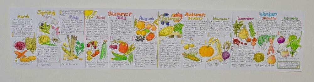 Seasonal Fruits and Vegetables (UK) Chart