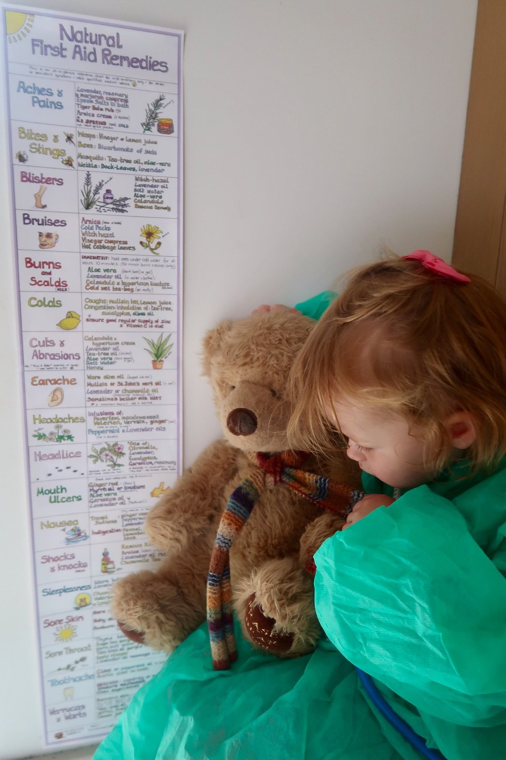 Scrubs and stethoscope ready to administer teddy bear first aid as per our Natural First Aid Remedies chart...!