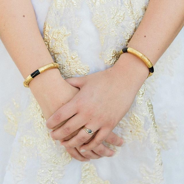 We love how #carolhannahbride @elleandbee paired our Gramercy Dress with her grandmother's bracelets! | Lens: @nicolejansma