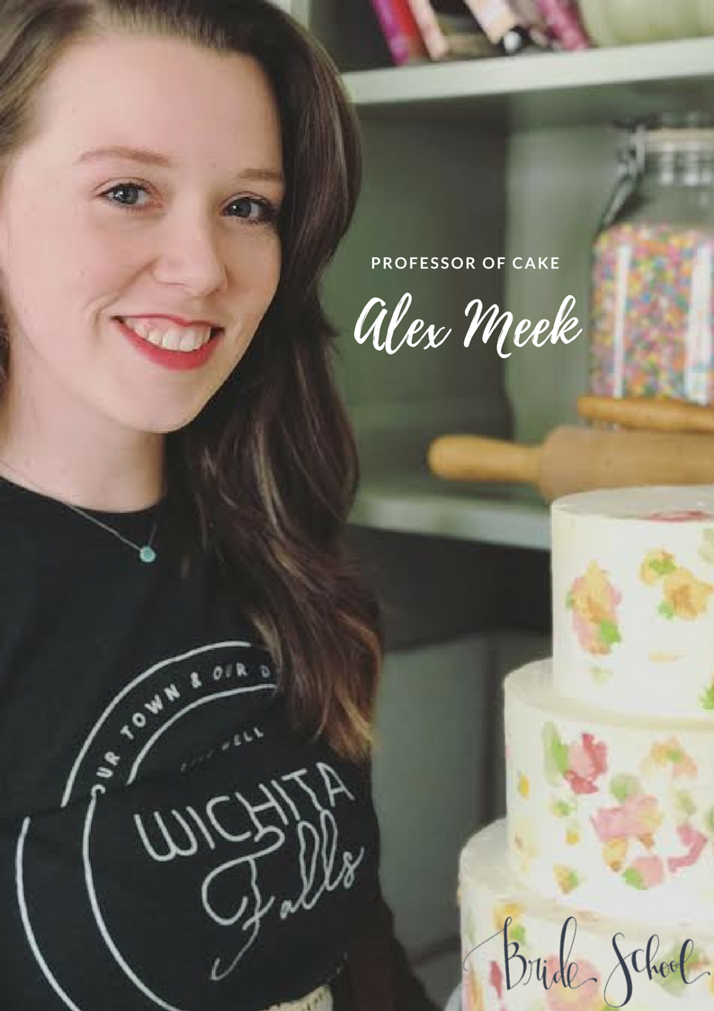 Professor of Cake - Hi! My name's Alex Meek, and I design cakes. Since high school, my life has been about chasing my dreams. In 2012 I graduated from Le Cordon Bleu in Austin, TX. I've worked at a variety of bakeries, including Walt Disney World, and my most recent job being a culinary assistant on the Food Network Show, Texas Cake House.After 8 years of experience, I'm ready to start my own business and share my passion with others. I'm excited to meet everyone and teach you all the do's and don'ts of wedding cakes!