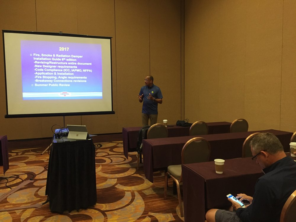 SMACNA Technical Director Eli Howard presented on technical updates in the HVAC field and International Mechanical Code changes.