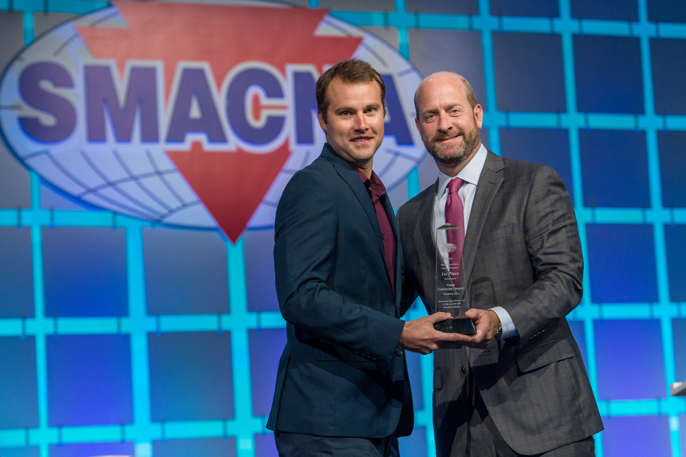 Winger's Brian Keck accepts the first place award for the SMACNA Safety Excellence Award program in the 500,000 and over man-hour category. Also receiving recognition was Climate Engineers for 3rd place in the 300,001-400,000 man-hour category. Congratulations to both Winger and Climate Engineers.
