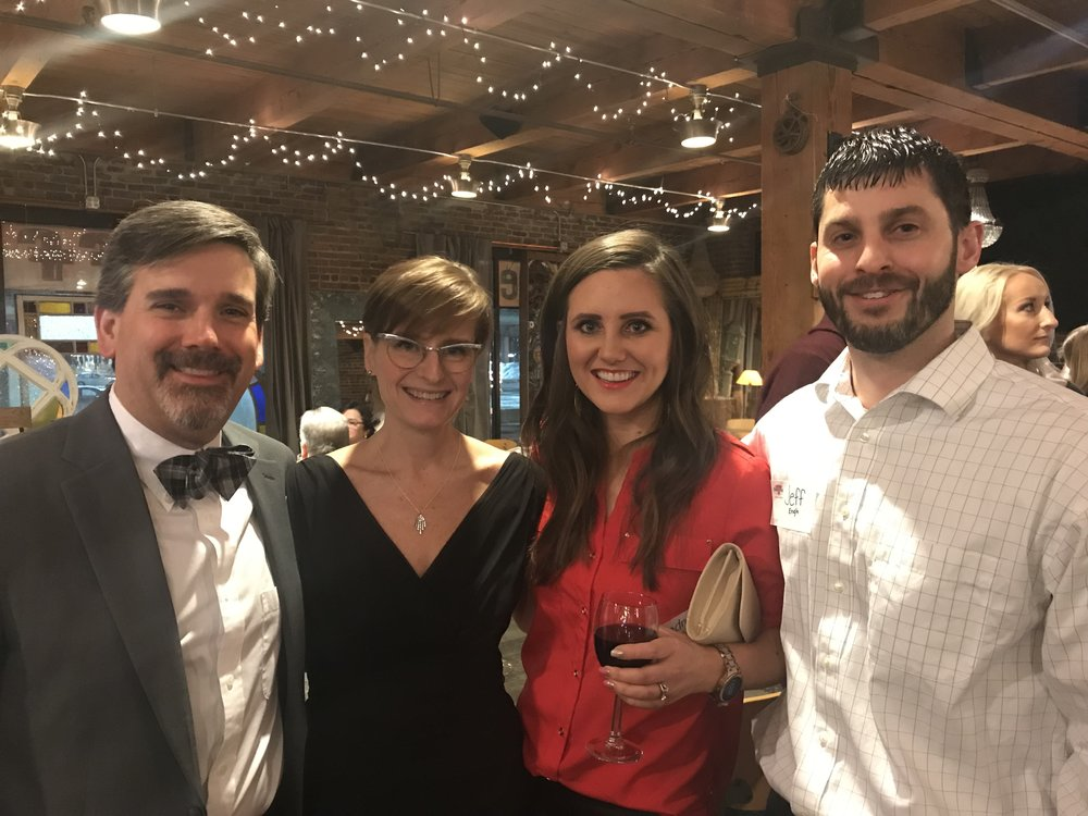 Outgoing SMCI President Mitch Golay, Jen Golay, Andrea Engh, and Jeff Engh