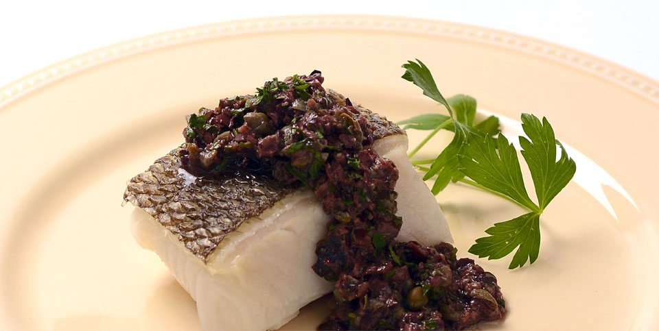 Grilled Sea Bass with Tapenade - Malibu Beach Recovery Diet Cookbook