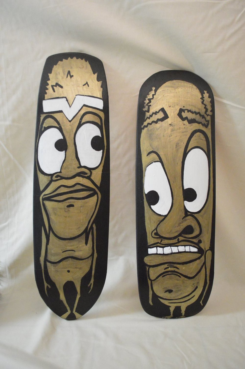 """Brass and Bronze"" 2014  Acrylic paint and oil based pen on skateboard"