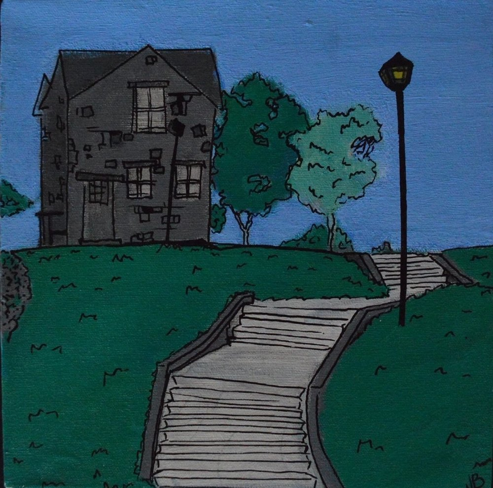 """Fitz Henry Lane House"" 2014  10""x 10""  Acrylic paint and Oil based pen on canvas"