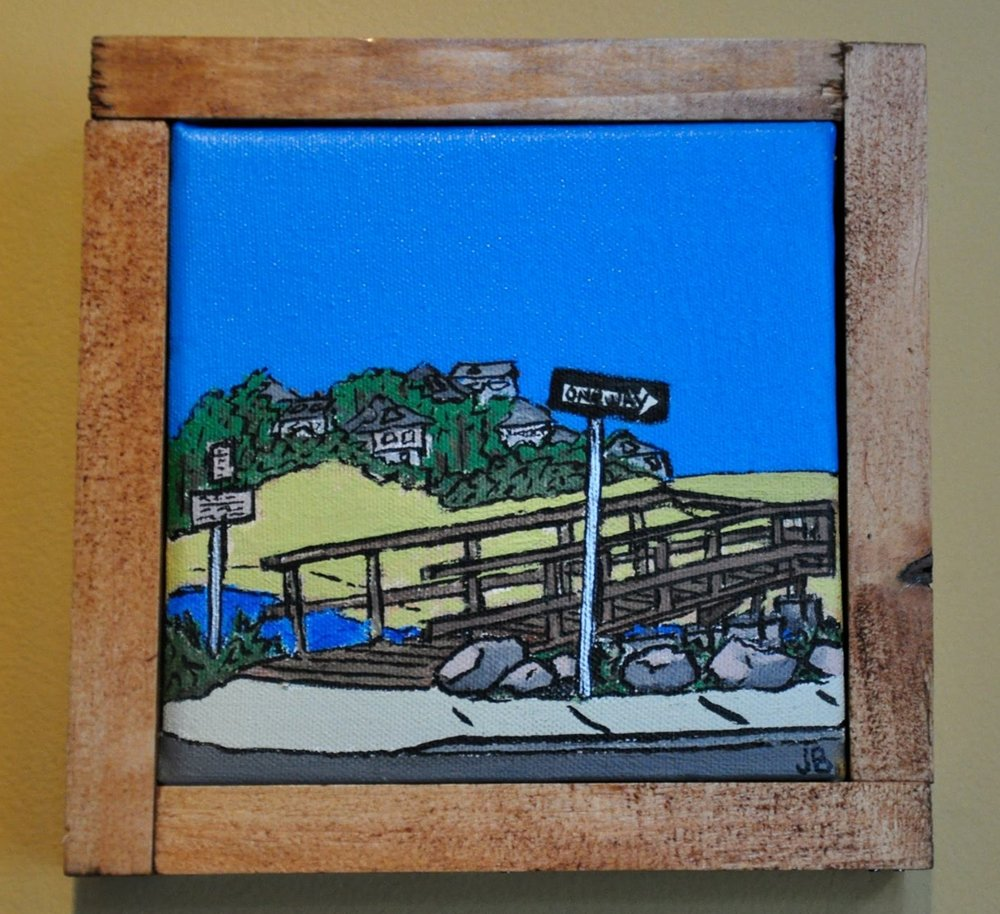 """Good Harbor Beach"" 2014  5""x 5""  Acrylic paint and Oil based pen on canvas"