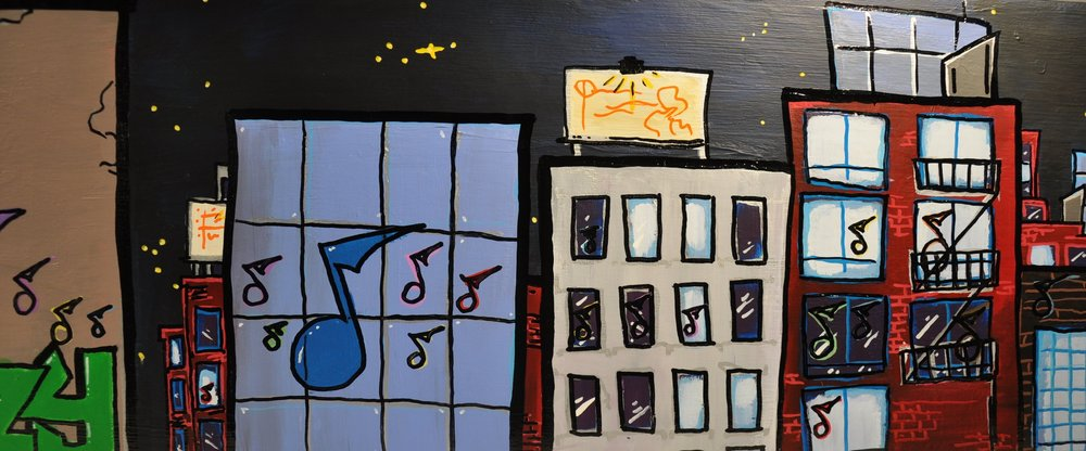 """Jazzy Town"" 2013  12""x 48""  Acrylic paint and oil based pen on wood"