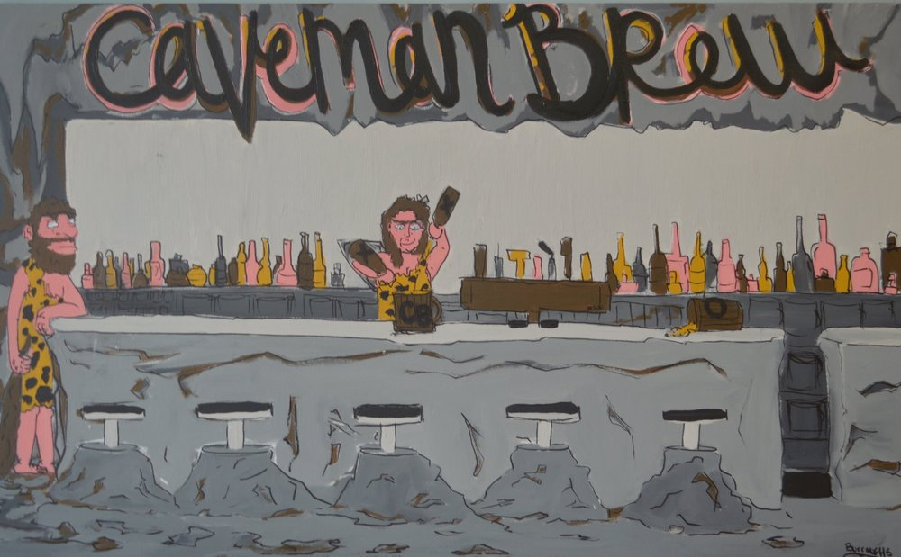 """Caveman Brew"" 2013  12"" x 24""  Acrylic paint and oil based pen on canvas"