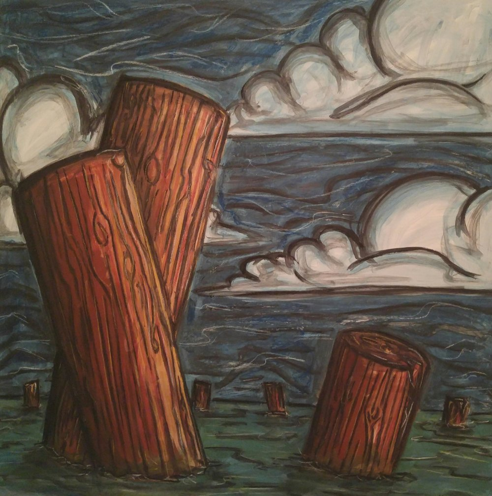 """Pilings 1"" 2014  3'x 3'  Acrylic paint, charcoal and chalk pastel on gessobord"