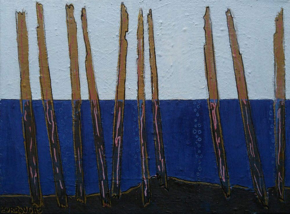 """Pilings 2"" 2016  8""x 10""  Oil paint, oil based pen and ink on canvas"