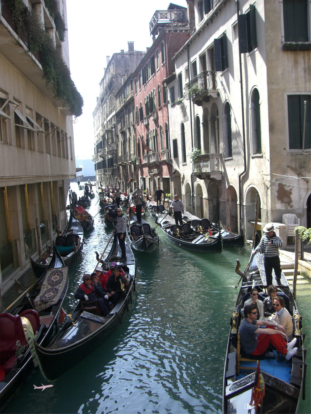 Crowded canals in Venice