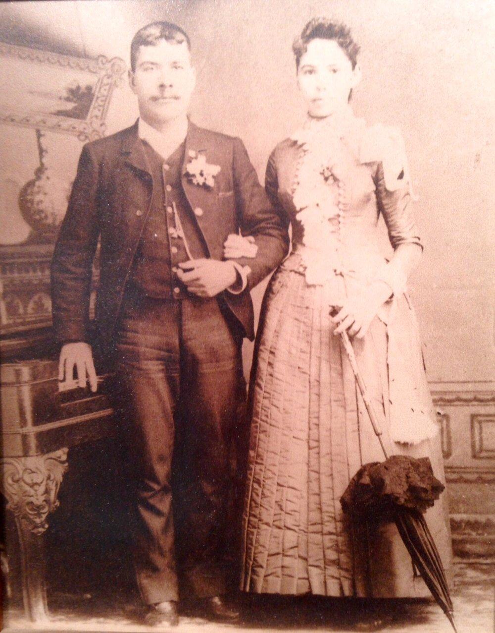 Joseph Letourneau and Elizabeth Jane Wasley, wedding photo, 1 Jul 1889                 Maternal great-great grandparents