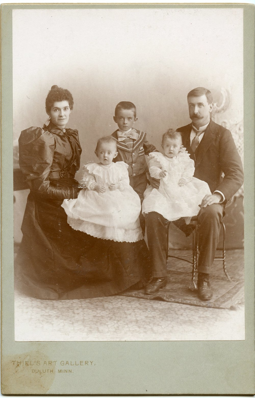 Anna Gorman, George Chester and their children, circa 1895. Paternal great grandmother Gertrude is one of the twins.