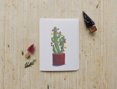 cactus with christmas lights greeting card