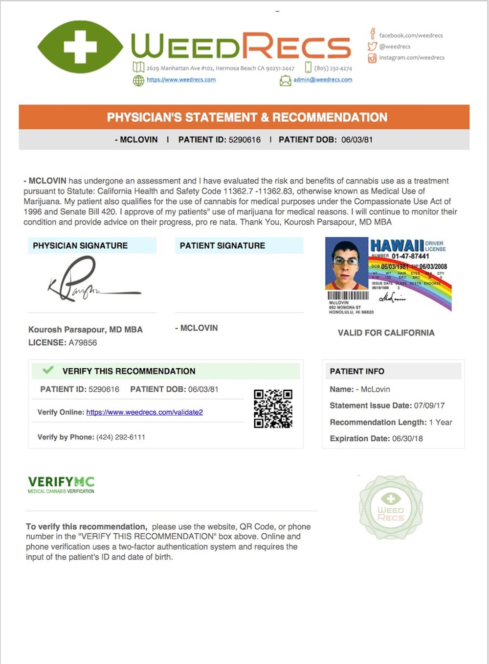 Here's an example of what our recommendation certificates look like.