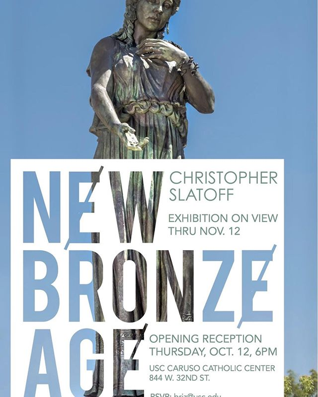 I will have a solo exhibition next Thursday, October 12, at Caruso Catholic Center accompanying a presentation of my collaborative work with USC. I will give an artist talk at 6pm. Feel free to attend the event. The details are on the flier!  #bronze #USC #Trojan #USCVillage #hecuba #Widney #carusocatholicchapel @californiaartclub #fighton @enduringheroes