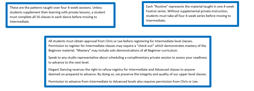 Please note that no student shall be admitted to a class series after week #2.     View Full Beginner Curriculum