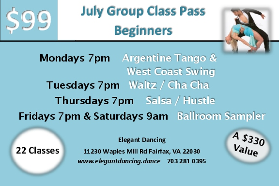 22 classes in July for the unbelievable price of only $99- /person. Take only the classes you want - it's still a terrific deal!