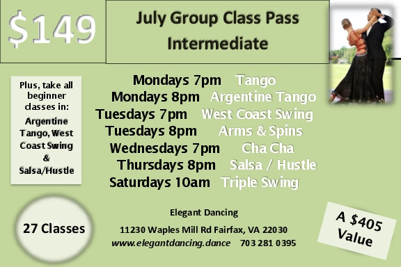Take all these intermediate level classes plus beginner or Intermediate level Argentine Tango, West Coast Swing and Salsa/Hustle. That's 27 classes in June for only $149-/person