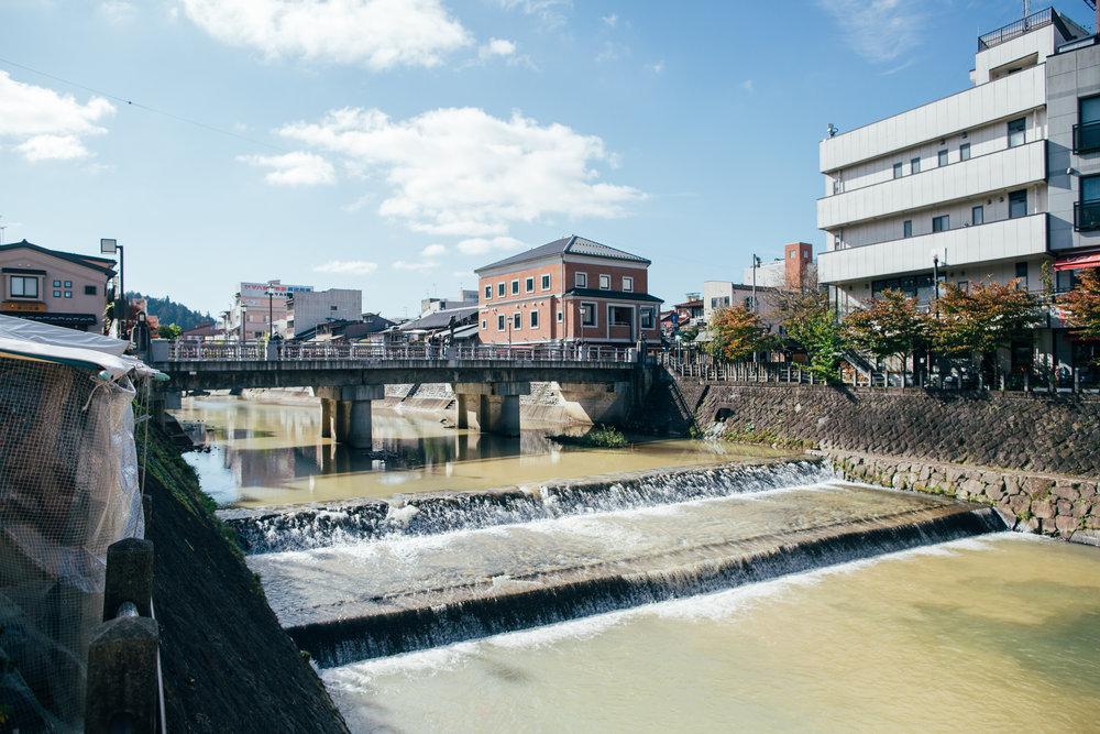 The Miyagawa river as viewed from the Miyagawa morning market.
