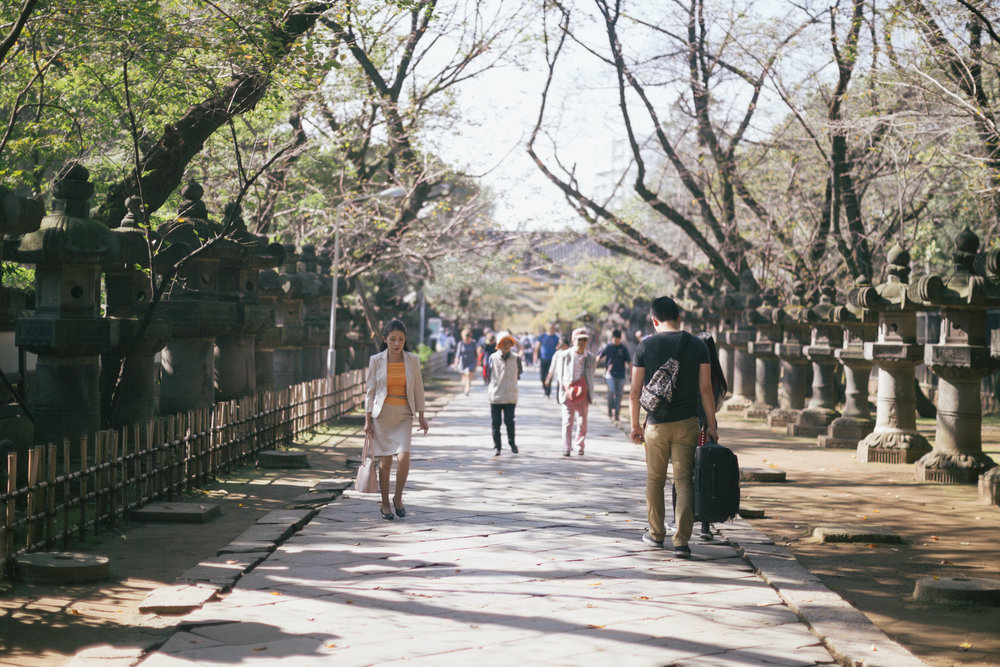 One of the paths inside Ueno park that lead to the Ueno Toshogu Shinto Shrine. The JR Ueno station adjacent to the park is another major hub for transportation and so it's not uncommon to see people carrying their suitcases around the park.