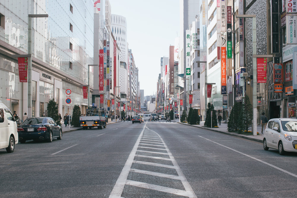 If not for the shiny glass facades of a lot of the newer buildings, the streets of Ginza might be perpetually in the shadows. Alright I guess that's a bit unfair as it makes it sound like Ginza's the seedy underbelly of Tokyo... Actually, is it?