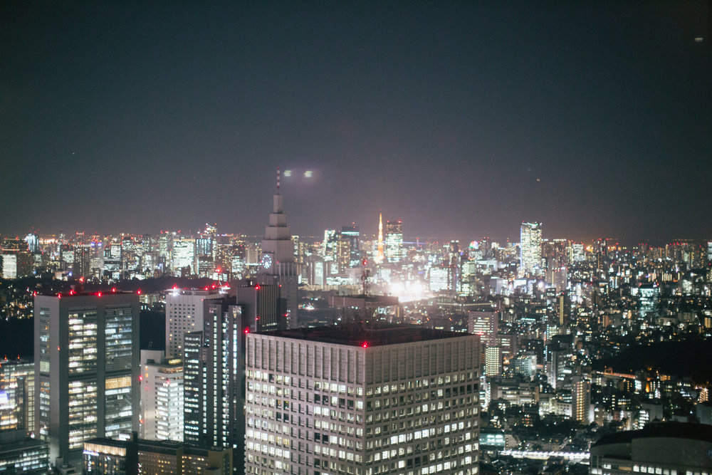 A shot of the Tokyo Tower and skyline in the background from the Tokyo Metropolitan Government Building in Shinjuku the night before we left to return home.