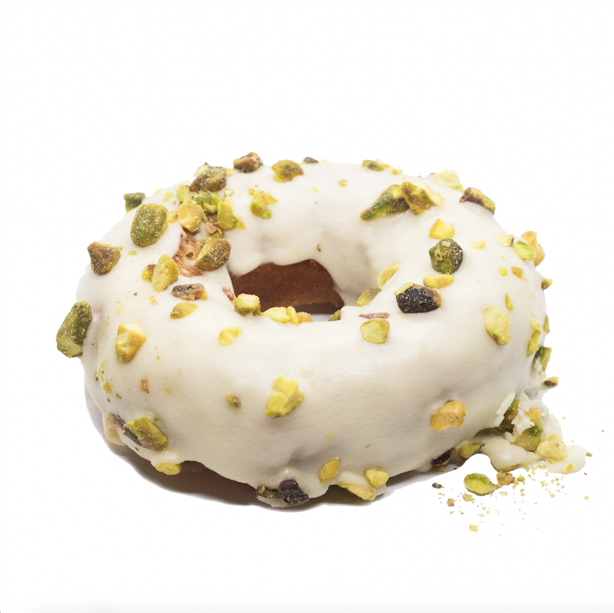 Orange Glazed + Pistachios  - brioche doughnuts glazed with orange icing and chopped pistachios