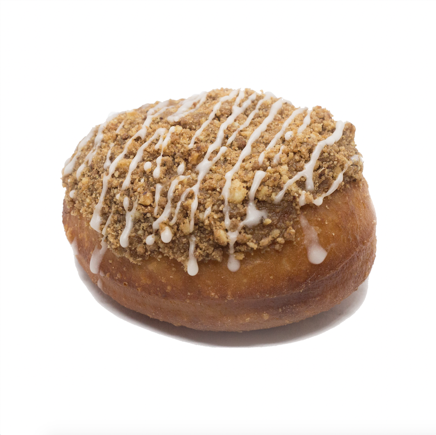 Coffee Cake  - brioche doughnut filled with coffee custard topped with toasted walnut streusel and vanilla drizzle