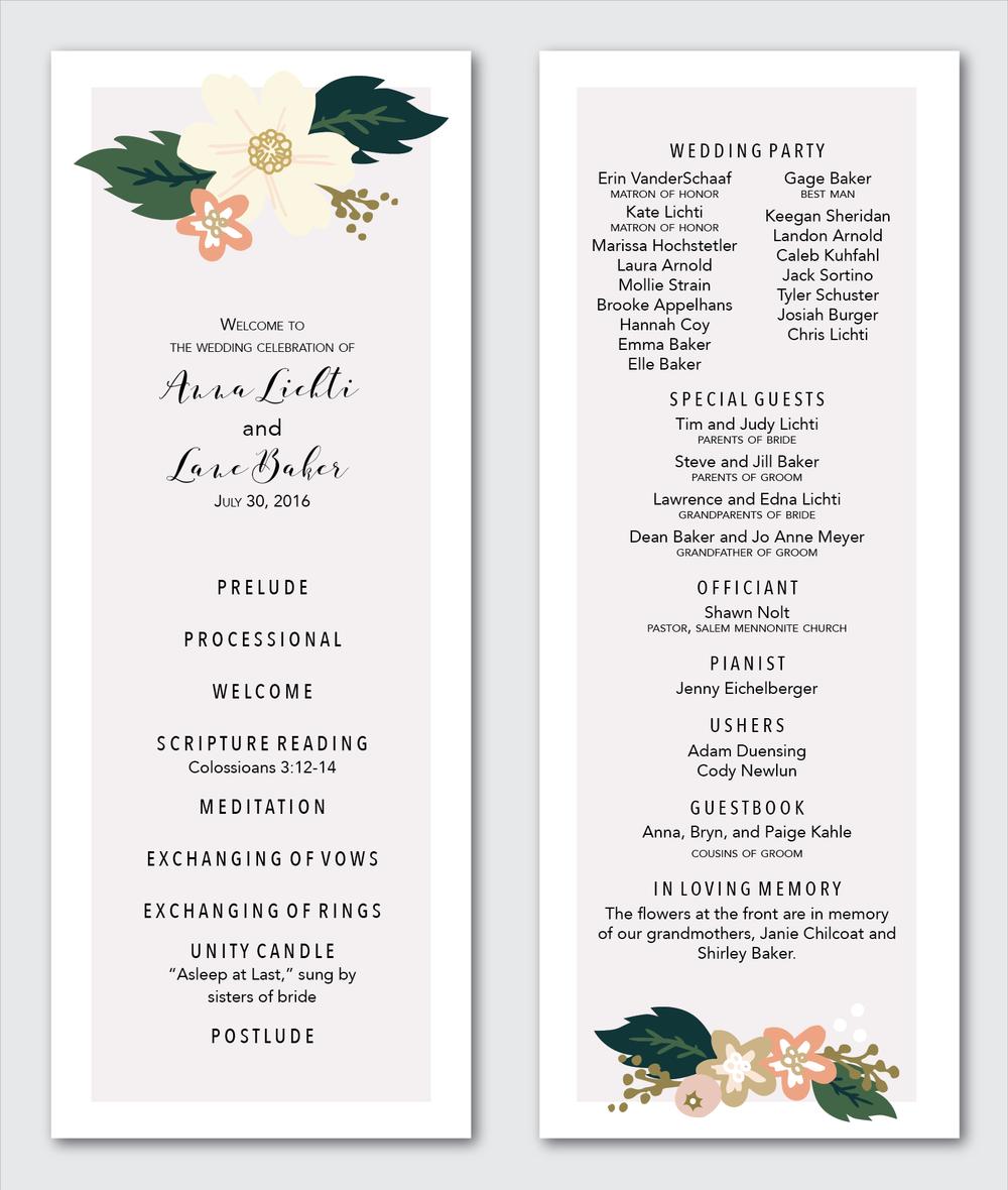 Wedding Program Marissa Hochstetler