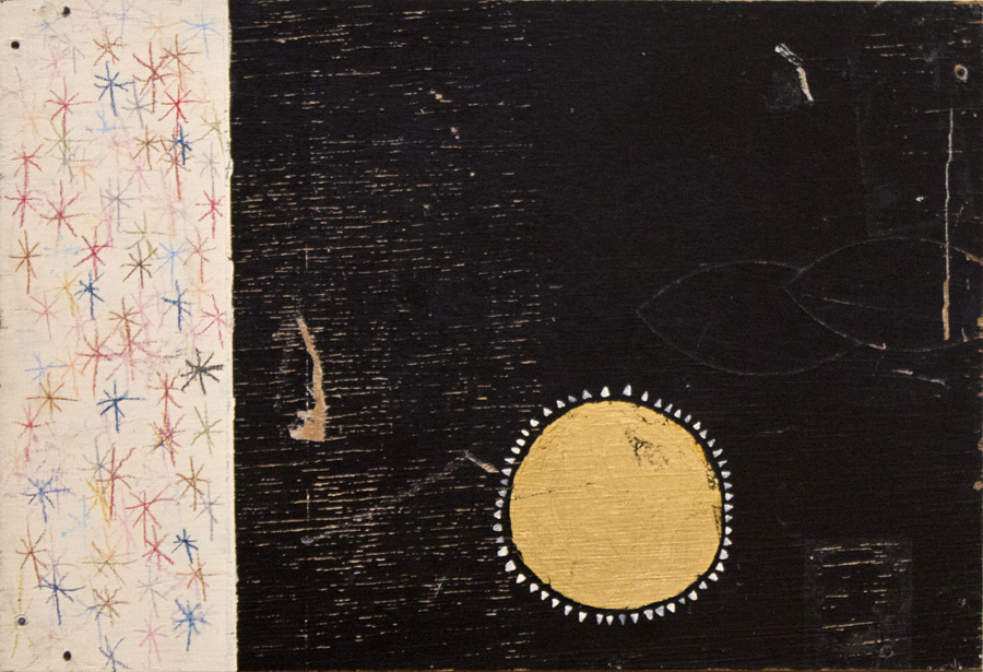 Flag #2 , acrylic paint, wax pastel, gold leaf on found wood, 17x12, 2015