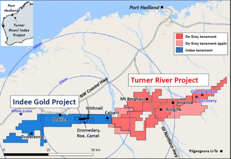 Figure 1. Combined tenement holdings DEG and Indee Gold (Source: DEG)