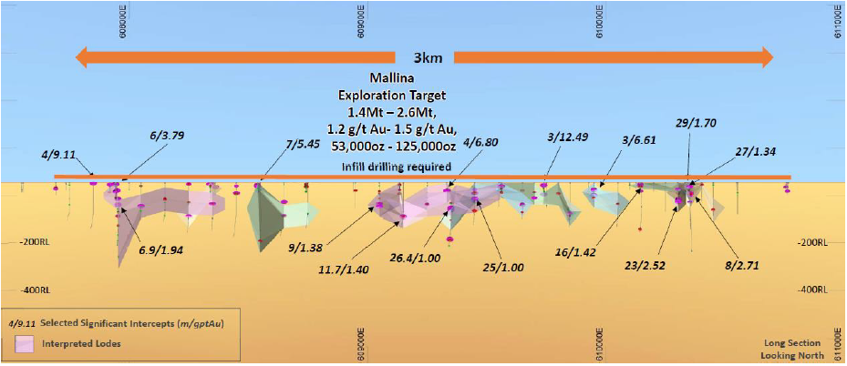 Figure 5. Mallina Project with significant intersections and resource wireframes (Source: DEG)