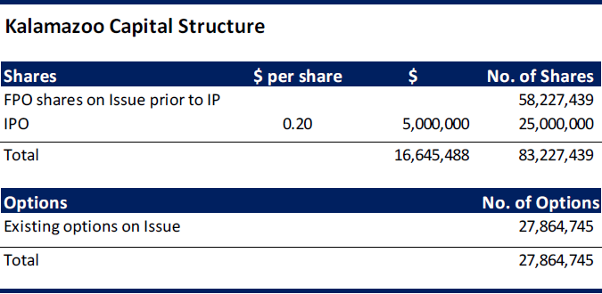 Table 1. Capital Structure (Source: DJC)