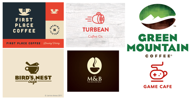 Before beginning my design, I sought inspiration from logos for other coffee companies. In particular, I was looking at logos that combined some aspect of coffee with other elements in a way that represented the concept behind the brand.