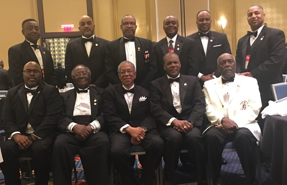 Kappa's Donateto St. Jude's - Brothers from the Huntsville Alumni Chapter of Kappa Alpha Psi Fraternity, Inc. at the 68th Southern Province Council Meeting in Mobile, AL. The chapter presented a check to St. Jude's for $2,150 during the banquet.
