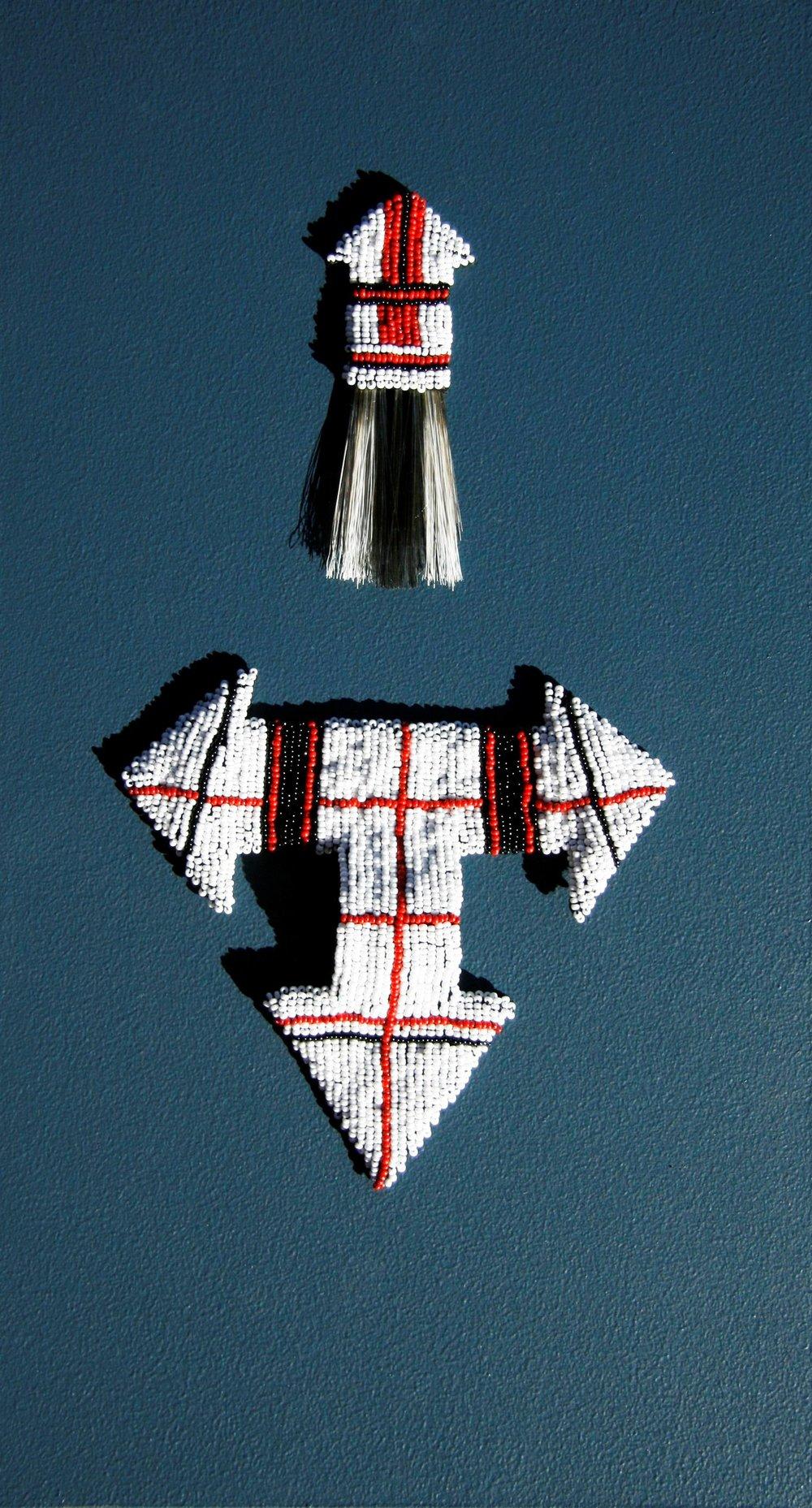 Zulu Valentine (2009). Felt, wire, glass beads & bristle.