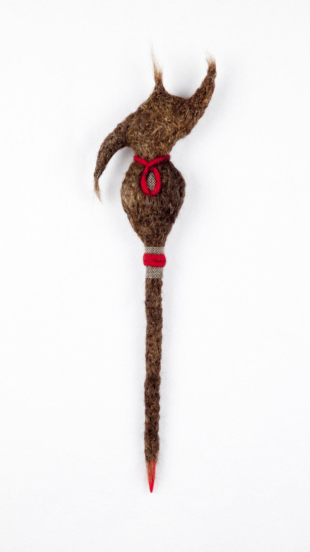 Conchita (2015). Wool, wire, mesh, human hair & knitting needle.