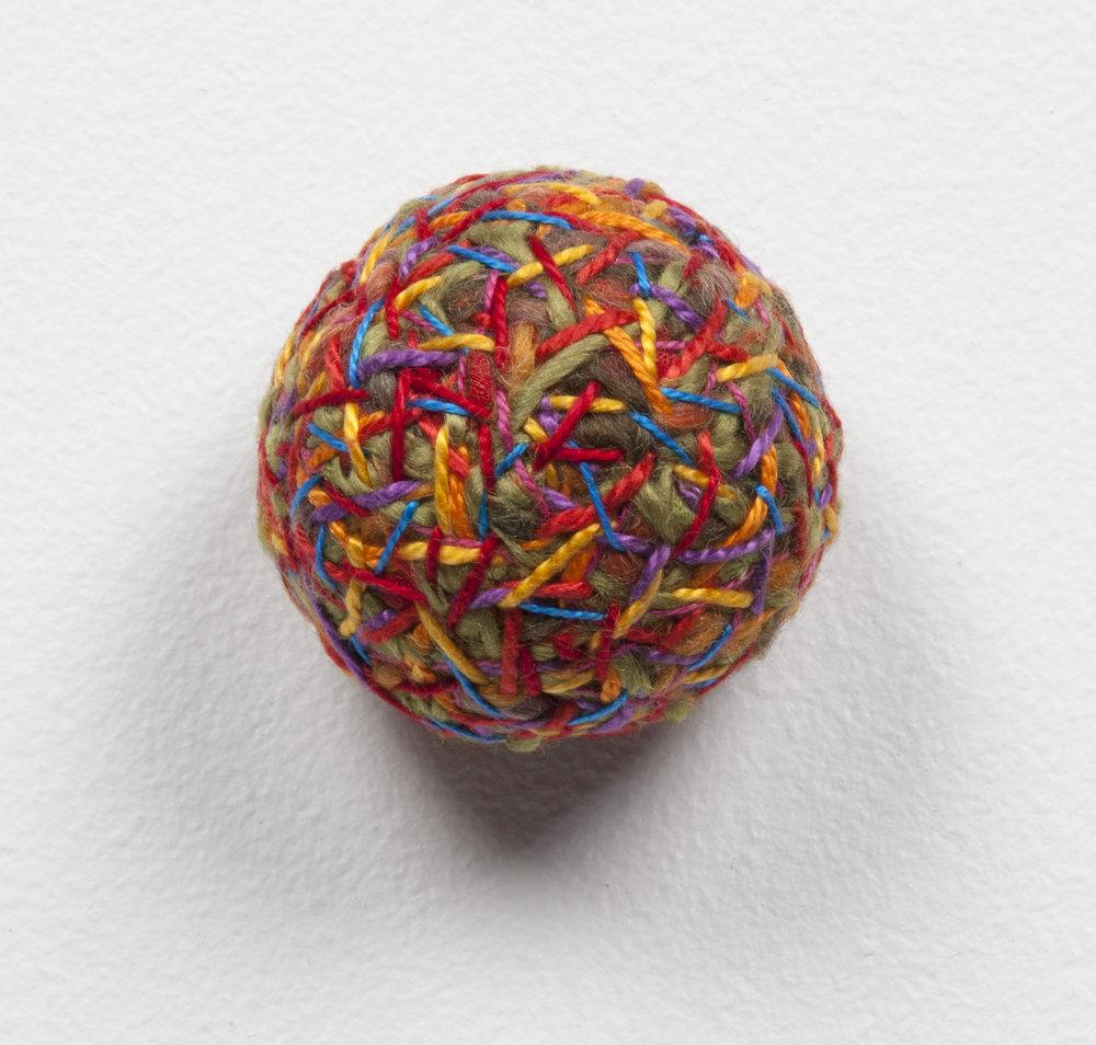 Psychonautics detail (2013). Fabric, thread & human hair.