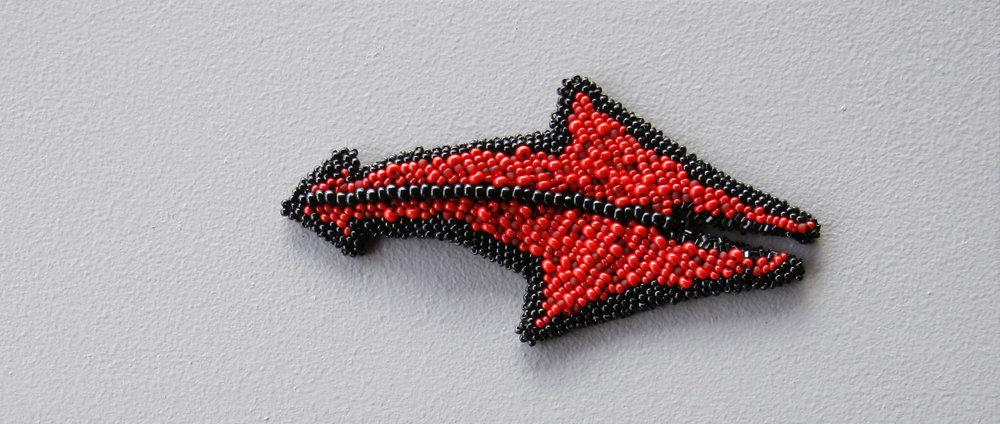 Duende (2010). Felt & glass beads.