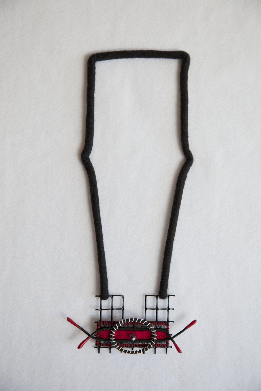 Spanish Whispers II (2011). Felted merino wool, plastics, wires & glass bead.