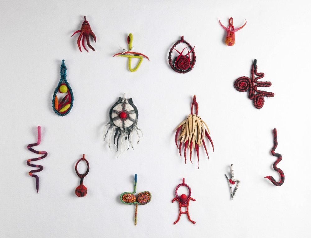 Pendants (fabric, felt & found objects)